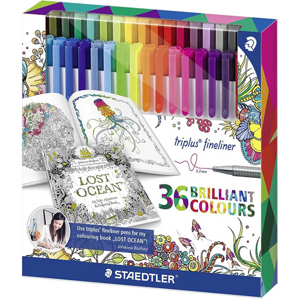Image for STAEDTLER 323 JOHANNA BASFORD TRIPLUS FINELINE PEN ASSORTED BOX 36 from Ross Office Supplies Office Products Depot