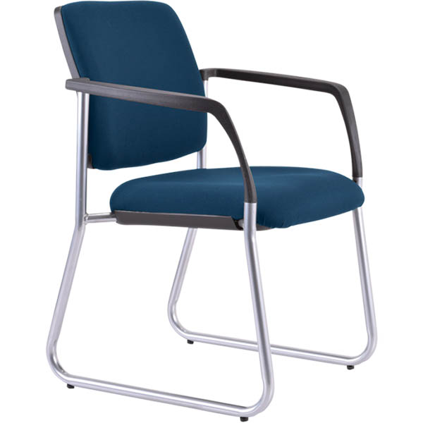 Image for BURO LINDIS VISITOR CHAIR SLED BASE UPHOLSTERED BACK ARMS JETT FABRIC DARK BLUE from Office Products Depot