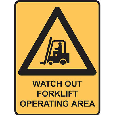 Image for BRADY WARNING SIGN WATCH OUT FORKLIFT OPERATING AREA 450 X 300MM POLYPROPYLENE from Office Products Depot