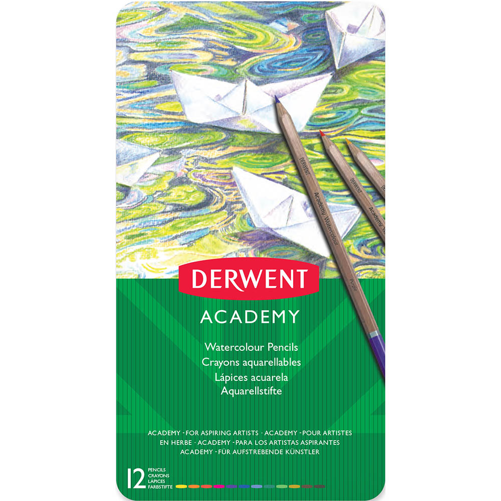 Image for DERWENT ACADEMY WATERCOLOUR PENCILS ASSORTED TIN 12 from MOE Office Products Depot Mackay & Whitsundays