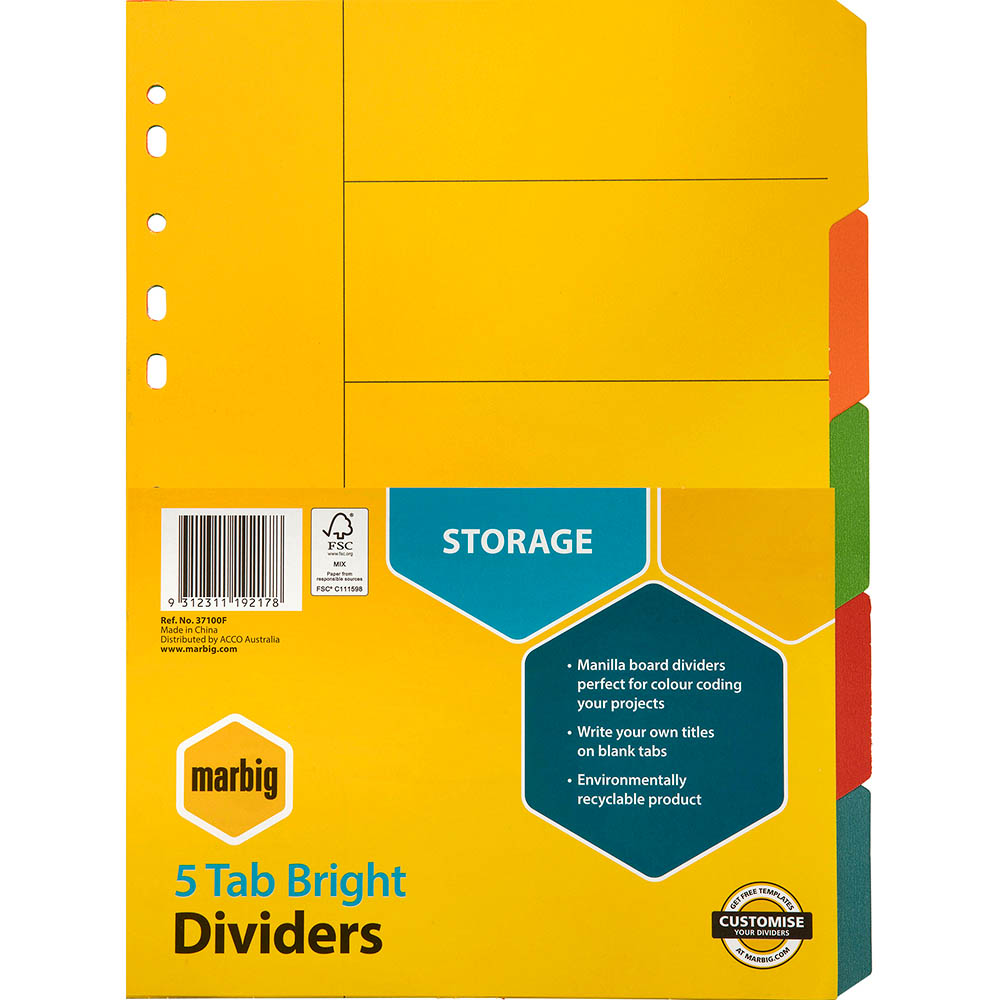 Image for MARBIG DIVIDER MANILLA 5-TAB A4 BRIGHT ASSORTED from Office Products Depot Macarthur