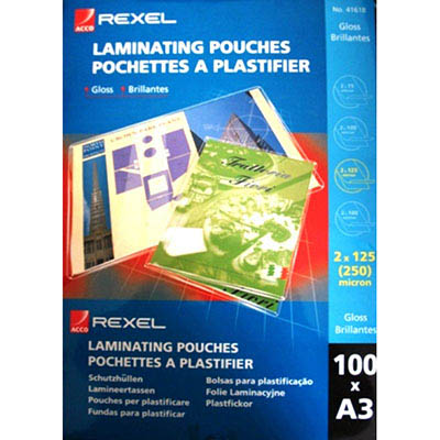 Image for REXEL LAMINATING POUCH 125 MICRON A3 CLEAR PACK 100 from Office Products Depot