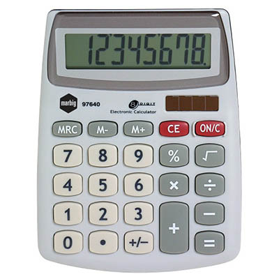 Image for MARBIG DESKTOP CALCULATOR 8 DIGIT SILVER from Office Products Depot