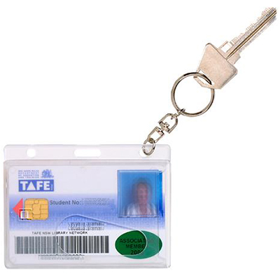 Image for REXEL ID CARD HOLDER PLUS KEY RING PACK 10 from Office Products Depot