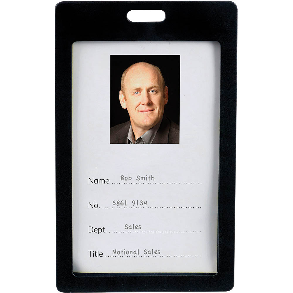 Image for REXEL ID CARD HOLDER PORTRAIT BLACK PACK 6 from Office Products Depot