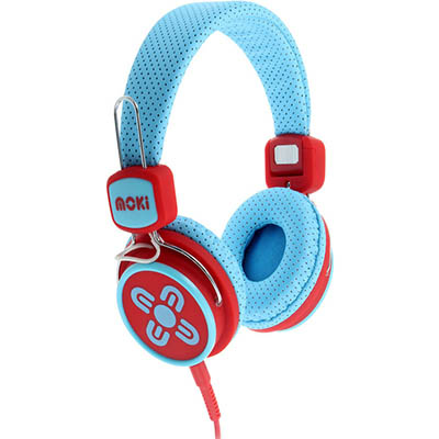Image for MOKI KID SAFE VOLUME LIMITED HEADPHONES BLUE/RED from Office Products Depot
