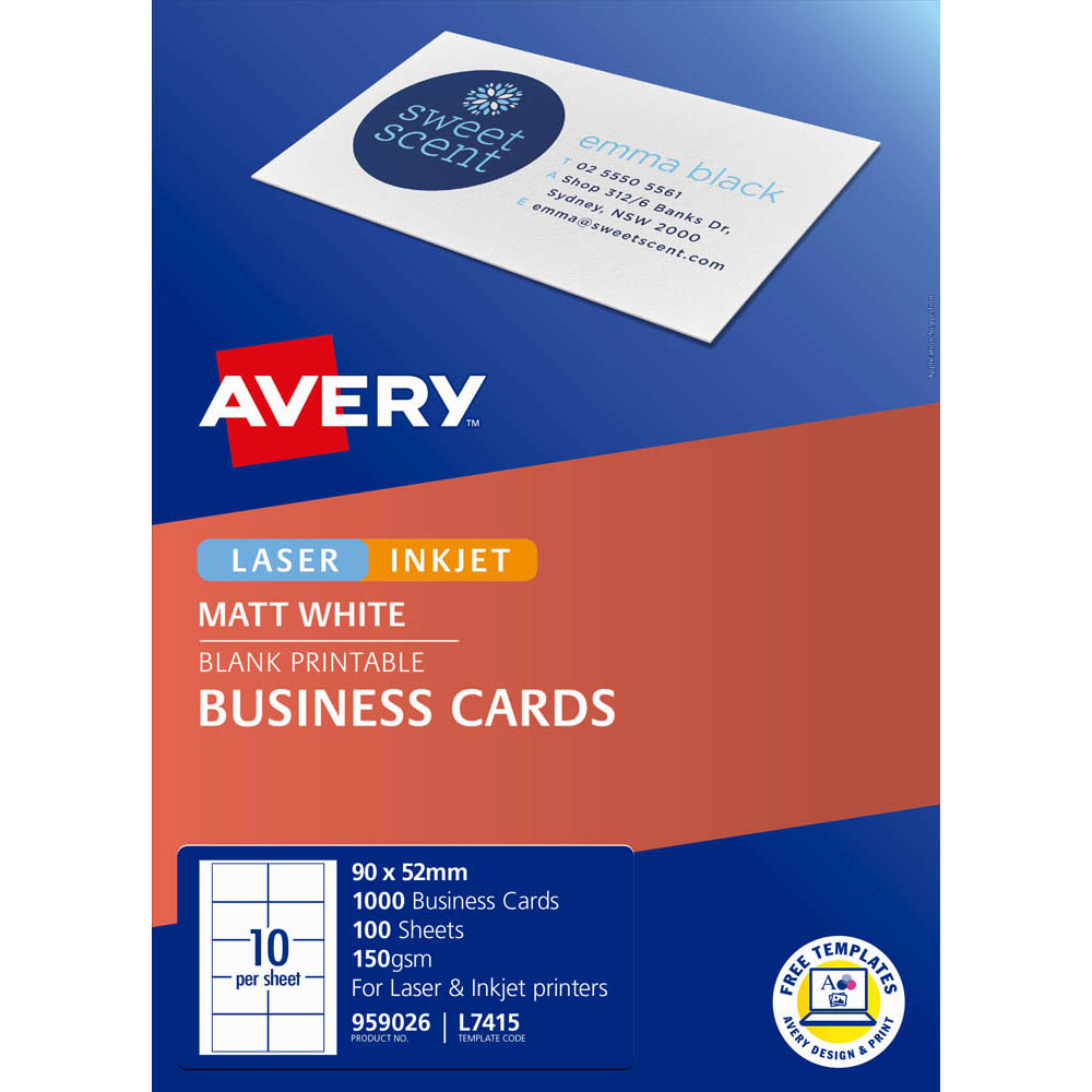 Image for AVERY 959026 L7415 QUICK CLEAN BUSINESS CARD 150GSM 85 X 54MM MATTE WHITE PACK 1000 from Office Products Depot