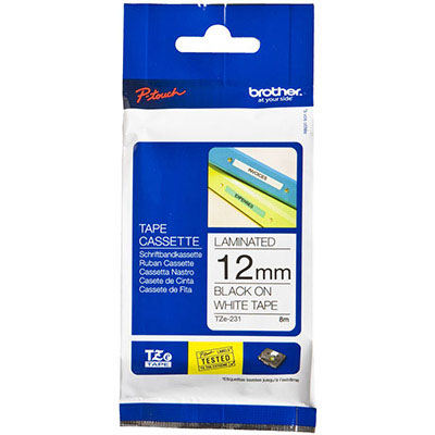 Image for BROTHER TZE-231 LAMINATED LABELLING TAPE 12MM BLACK ON WHITE from Office Products Depot
