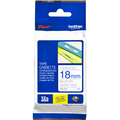 Image for BROTHER TZE-243 LAMINATED LABELLING TAPE 18MM BLUE ON WHITE from Office Products Depot