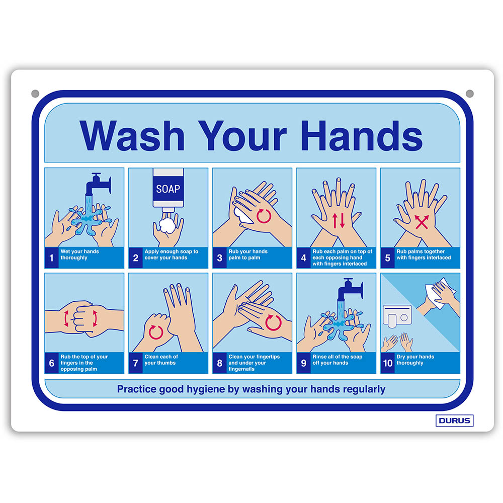 Image for DURUS WALL SIGN HOW TO WASH HANDS RECTANGLE 225 X 300MM BLUE/WHITE from Office Products Depot