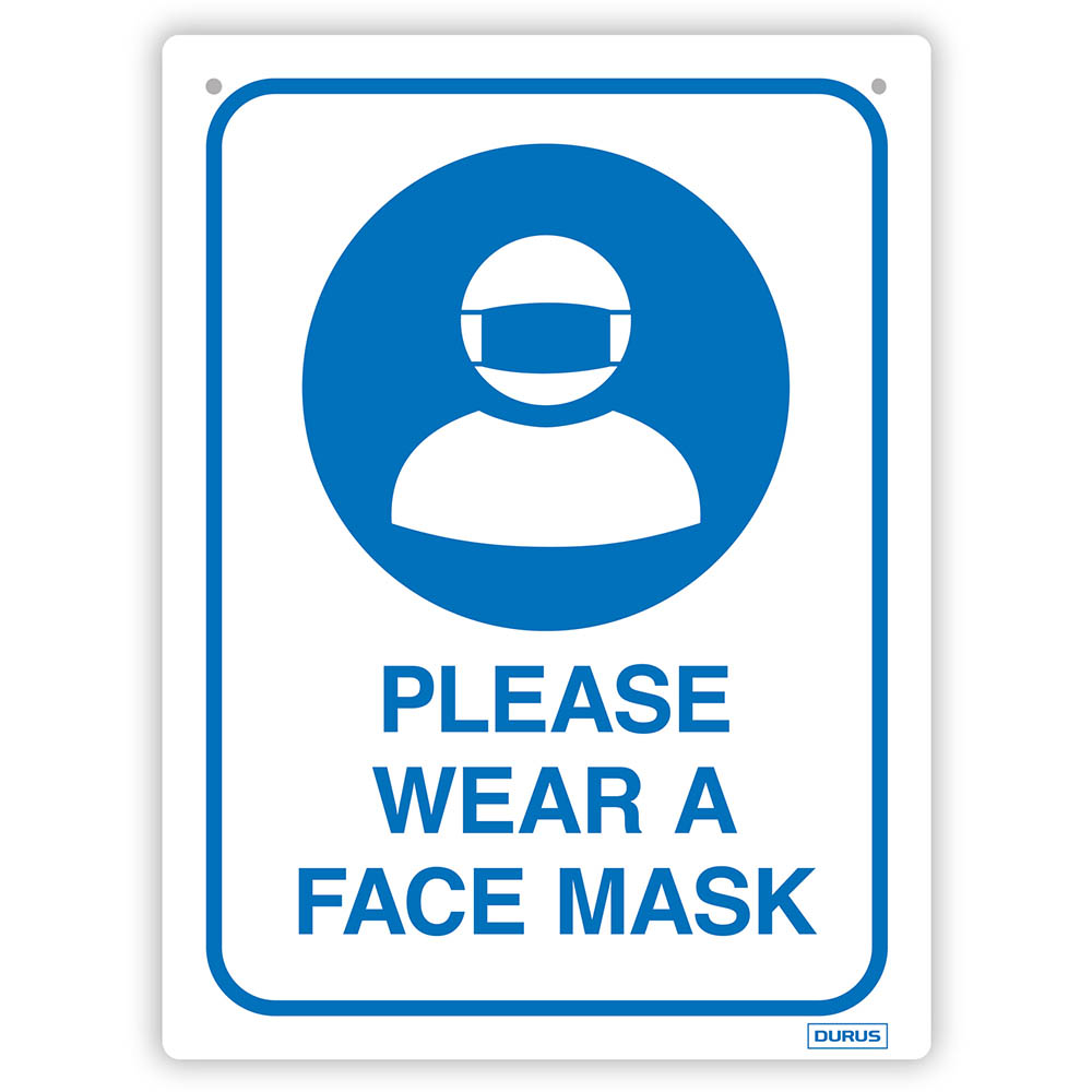 Image for DURUS WALL SIGN PLEASE WEAR A FACE MASK RECTANGLE 225 X 300MM BLUE/WHITE from Office Products Depot