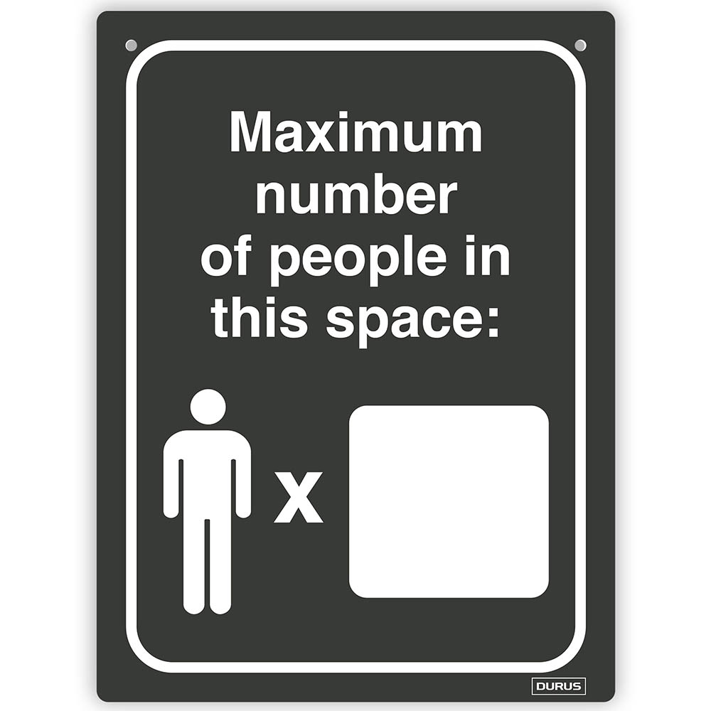 Image for DURUS WALL SIGN MAXIMUM CAPACITY PEOPLE RECTANGLE 225 X 300MM BLACK/WHITE from Office Products Depot