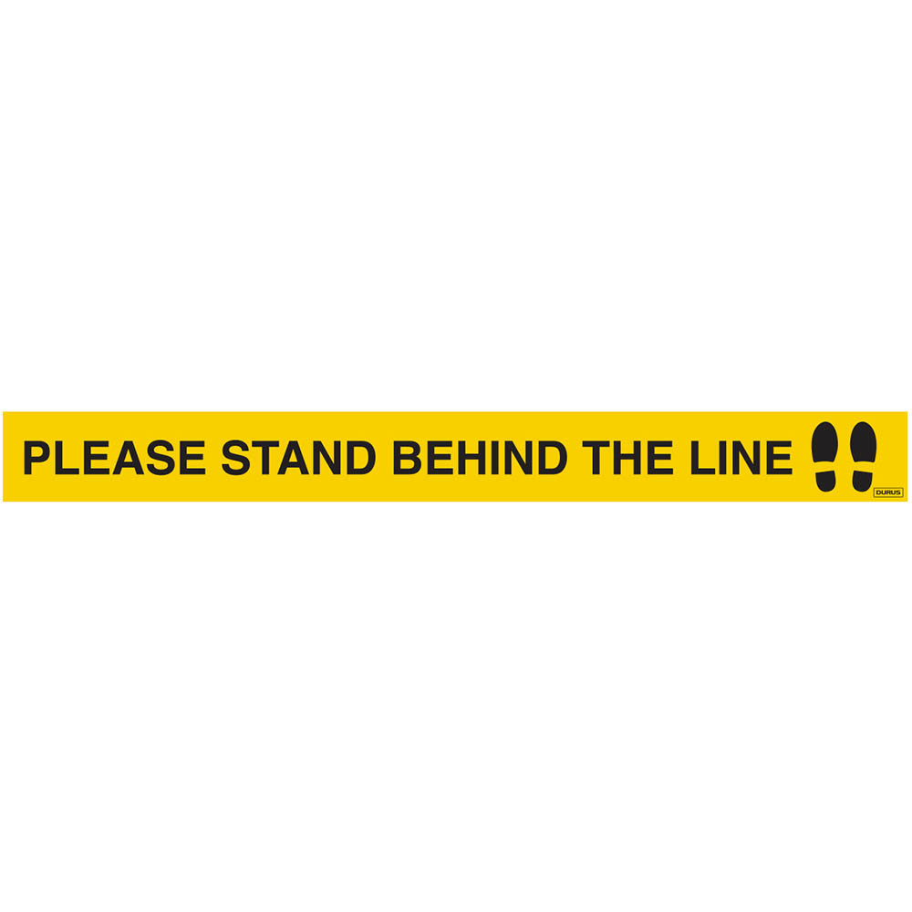 Image for DURUS HARD FLOOR STRIPS PLEASE STAND BEHIND THE LINE 50 X 500MM YELLOW PACK 5 from Office Products Depot