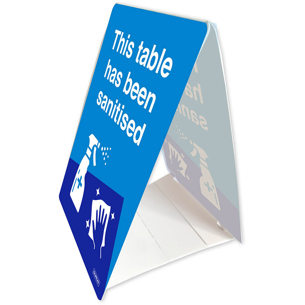 Image for DURUS TENT STAND THIS TABLE HAS BEEN SANITISED 100 X 150MM BLUE/WHITE from Office Products Depot