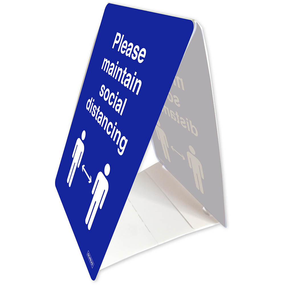 Image for DURUS TENT STAND SOCIAL DISTANCE 100 X 150MM BLUE/WHITE from Office Products Depot