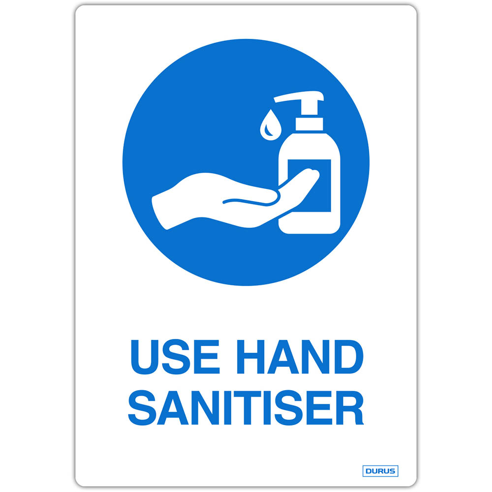 Image for DURUS SELF ADHESIVE DECAL USE HAND SANITISER 105 X 148MM BLUE/WHITE PACK 2 from Office Products Depot