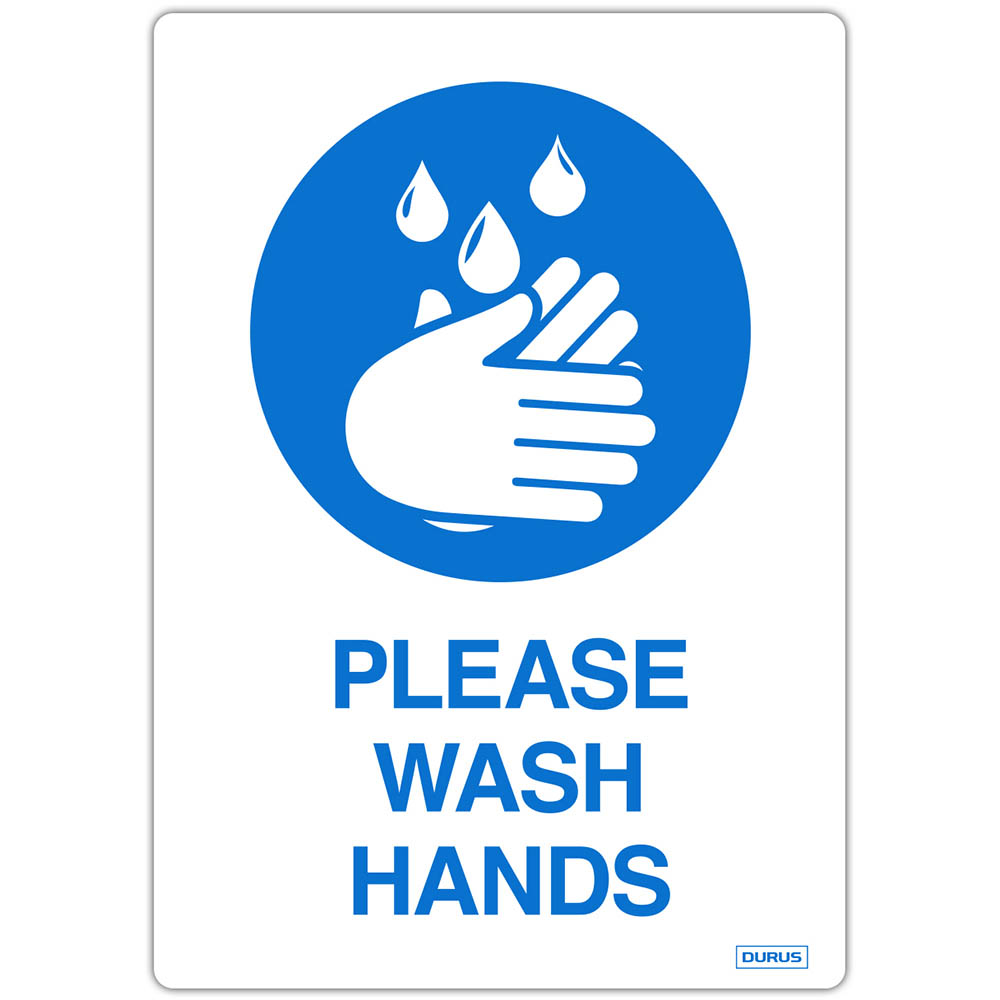 Image for DURUS SELF ADHESIVE DECAL PLEASE WASH HANDS 105 X 148MM BLUE/WHITE PACK 2 from Office Products Depot