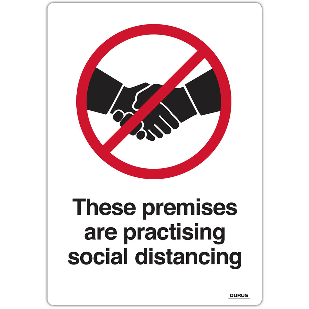 Image for DURUS SELF ADHESIVE DECAL THESE PREMISES ARE PRACTISING SOCIAL DISTANCE 105 X 148MM BLACK/RED PACK 2 from Office Products Depot