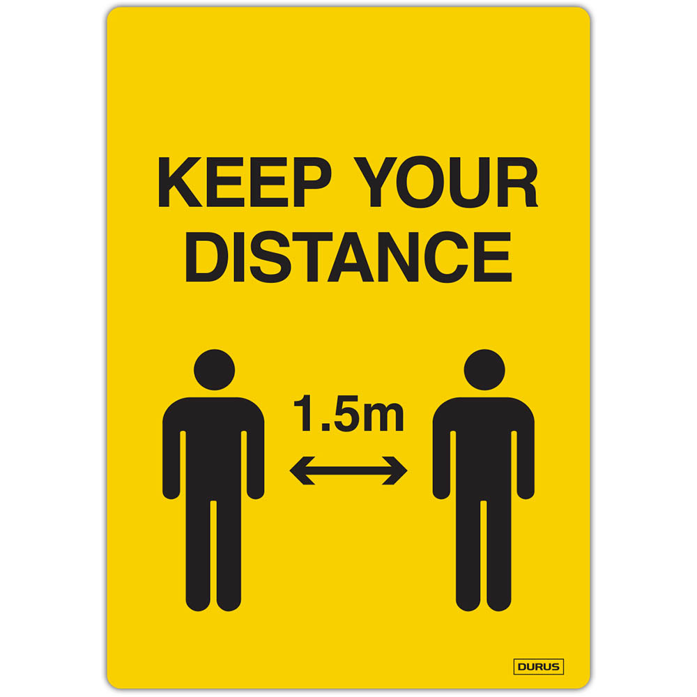 Image for DURUS SELF ADHESIVE DECAL KEEP YOUR DISTANCE 105 X 148MM YELLOW PACK 2 from Office Products Depot