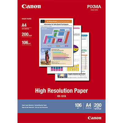 Image for CANON HR-101 HIGH RESOLUTION PHOTO PAPER 106GSM A4 WHITE PACK 200 from Office Products Depot
