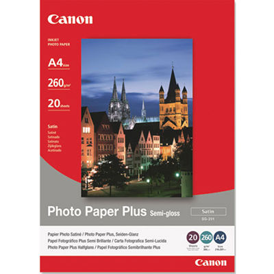 Image for CANON SG-201 PHOTO PAPER PLUS SEMIGLOSS 260GSM A4 WHITE PACK 20 from Office Products Depot