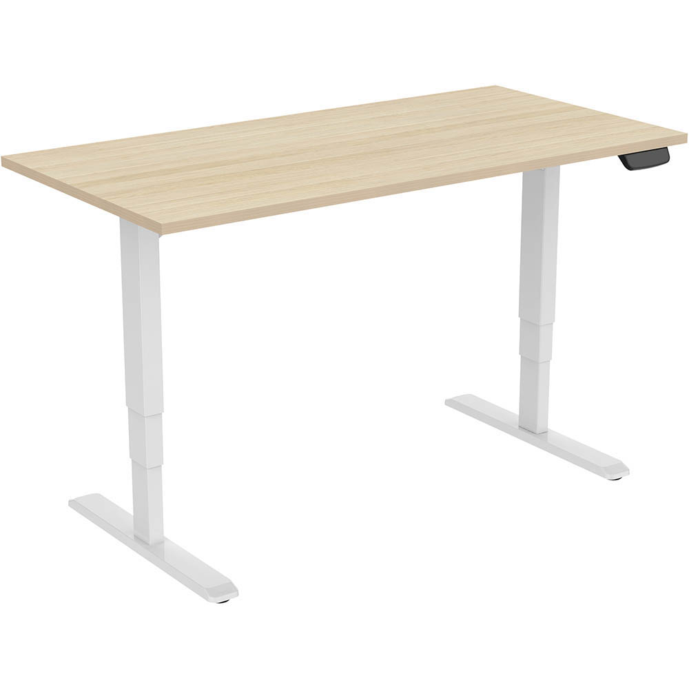 Image for ERGOVIDA ELECTRIC SIT STAND DESK DUAL MOTOR 1500 X 750MM WHITE/NEW OAK from Total Supplies Pty Ltd