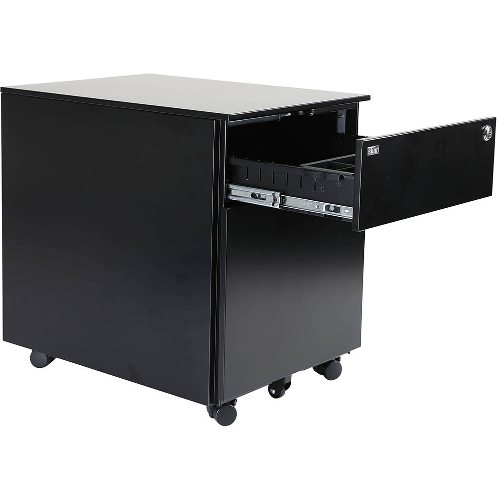 Image for SKAN SIT-STAND MOBILE PEDESTAL 1 SHALLOW 1 FILE DRAWER 510 X 520 X 390MM BLACK POWDERCOAT from Office Products Depot Macarthur