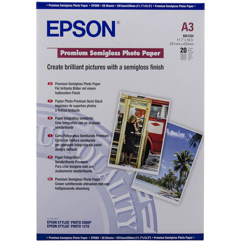 Image for EPSON S041334 PREMIUM SEMIGLOSS PHOTO PAPER 250GSM A3 WHITE PACK 20 from Office Products Depot