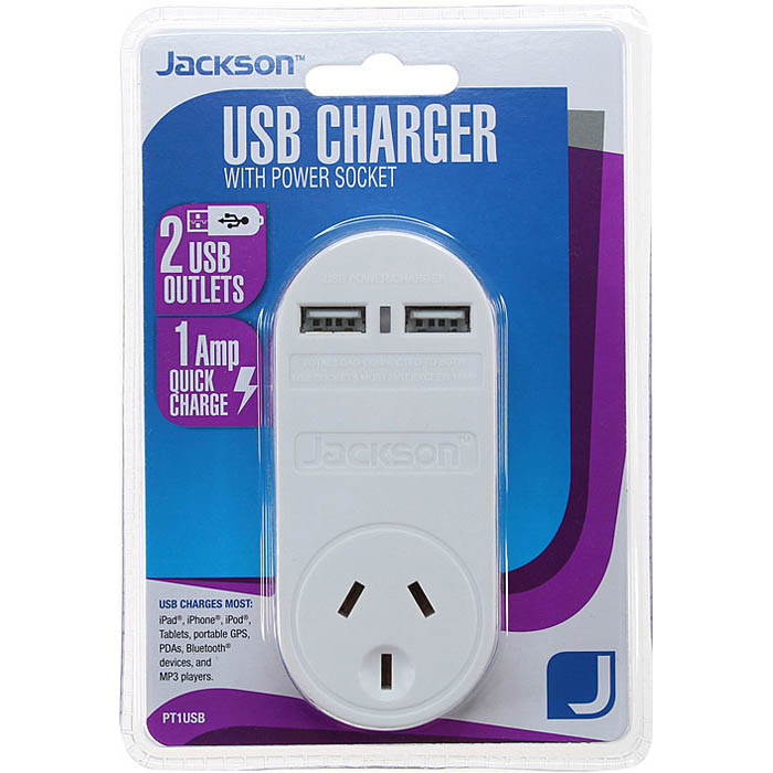 Image for JACKSON CHARGER 2 OUTLET USB WITH MAINS POWER OUTLET from Office Products Depot Macarthur
