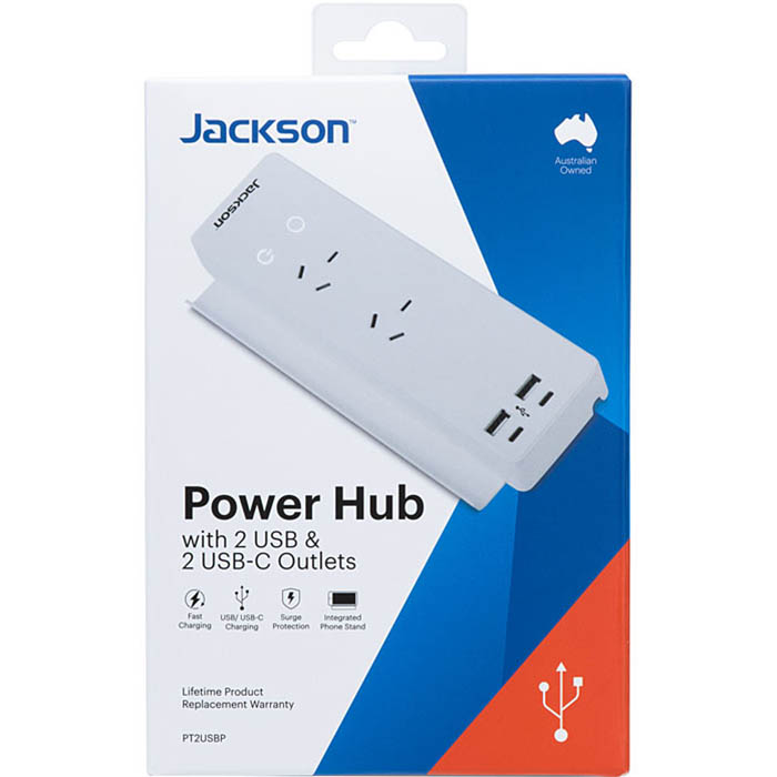 Image for JACKSON POWER HUB SURGE PROTECTED 2 OUTLET WITH USB OUTLETS from Office Products Depot Macarthur
