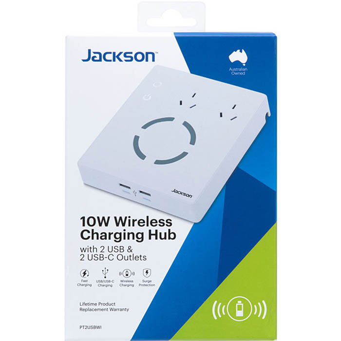 Image for JACKSON CHARGING HUB WIRELESS SURGE PROTECTED 2 OUTLET WITH USB OUTLETS from Office Products Depot Macarthur