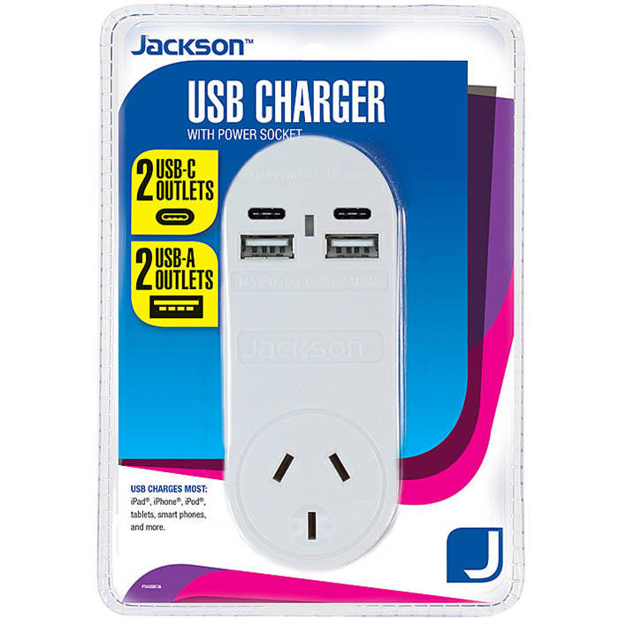 Image for JACKSON CHARGER USB-A AND USB-C WITH MAINS POWER OUTLET from Office Products Depot Macarthur