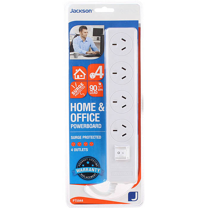 Image for JACKSON POWERBOARD SURGE PROTECTED 4 OUTLET WITH MASTER SWITCH from Office Products Depot Macarthur