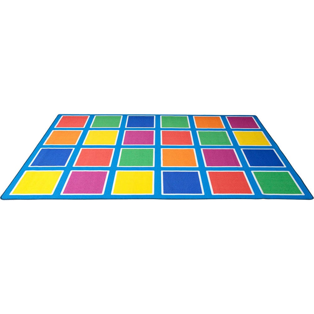 Image for ELIZABETH RICHARDS COLOUR SQUARES PLACEMENT RUG 24 SQUARES 3M X 2M LIGHT BLUE from Ross Office Supplies Office Products Depot