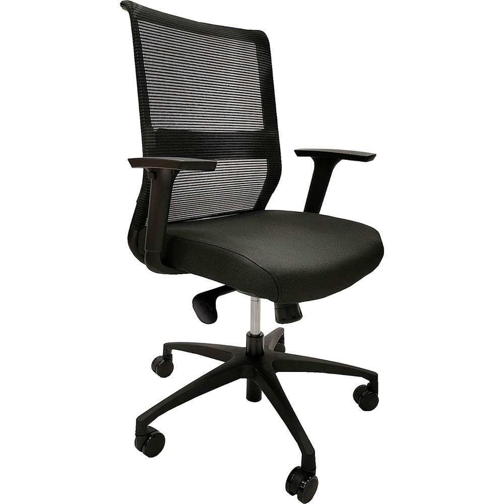 Image for ONYX II TASK CHAIR MEDIUM MESH BACK WITH ARMS BLACK from MOE Office Products Depot Mackay & Whitsundays