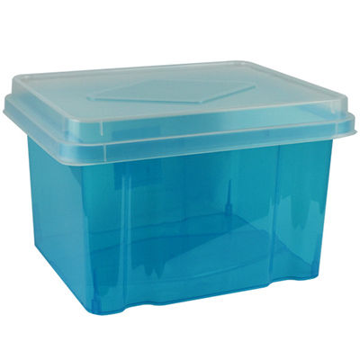 Image for ITALPLAST FILE STORAGE BOX 32 LITRE TINTED BLUE/CLEAR LID from Office Products Depot