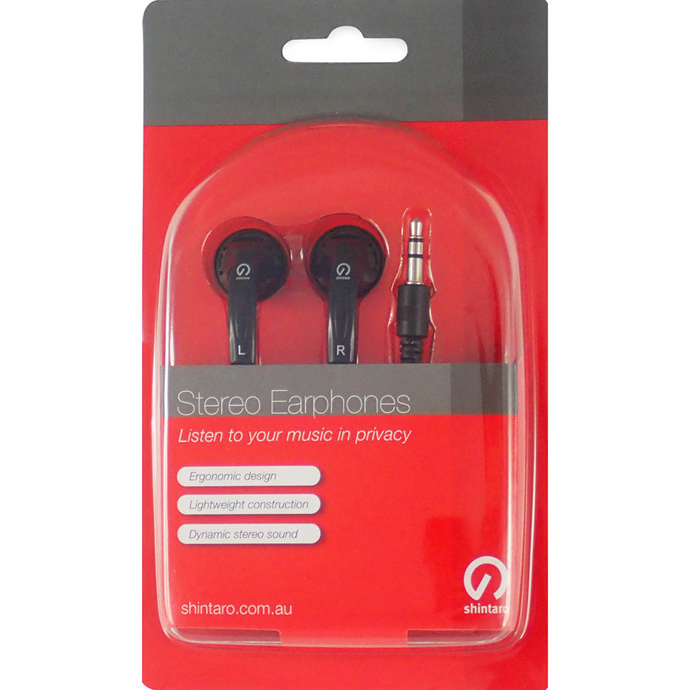 Image for SHINTARO STEREO EARPHONES BLACK from Office Products Depot