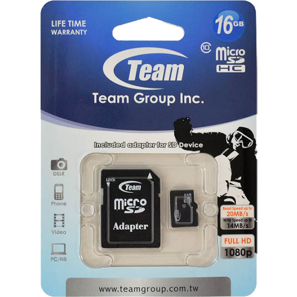 Image for TEAM GROUP MEMORY CARD MICRO SDHC CLASS 10 16GB from Ross Office Supplies Office Products Depot