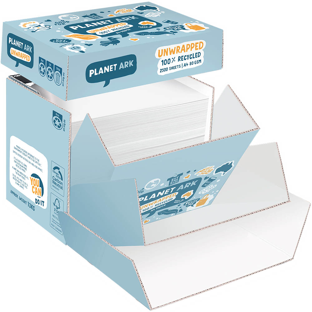 Image for PLANET ARK 100% RECYCLED A4 COPY PAPER 80GSM WHITE UNWRAPPED BOX 2500 SHEETS from MOE Office Products Depot Mackay & Whitsundays