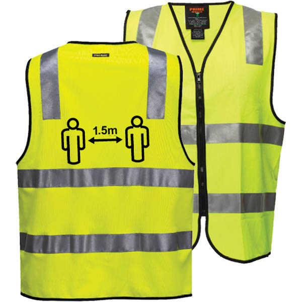Image for PRIME MOVER CV102 SOCIAL DISTANCING VEST DAY/NIGHT YELLOW SMALL from Office Products Depot Macarthur