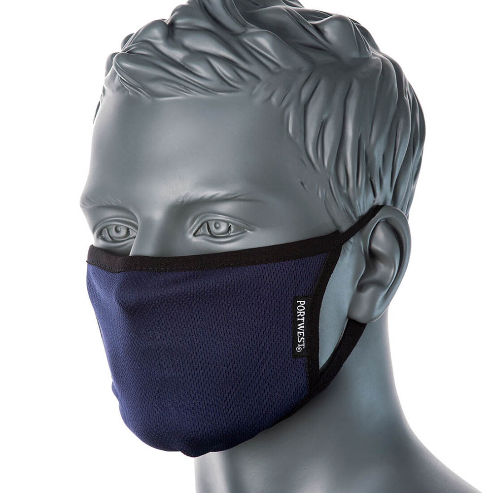 Image for PORTWEST FABRIC FACE MASK ANTI-MICROBIAL 3 PLY NAVY from MOE Office Products Depot Mackay & Whitsundays