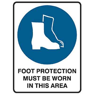 Image for TRAFALGAR MANDATORY SIGN FOOT PROTECTION 450 X 600MM from Office Products Depot
