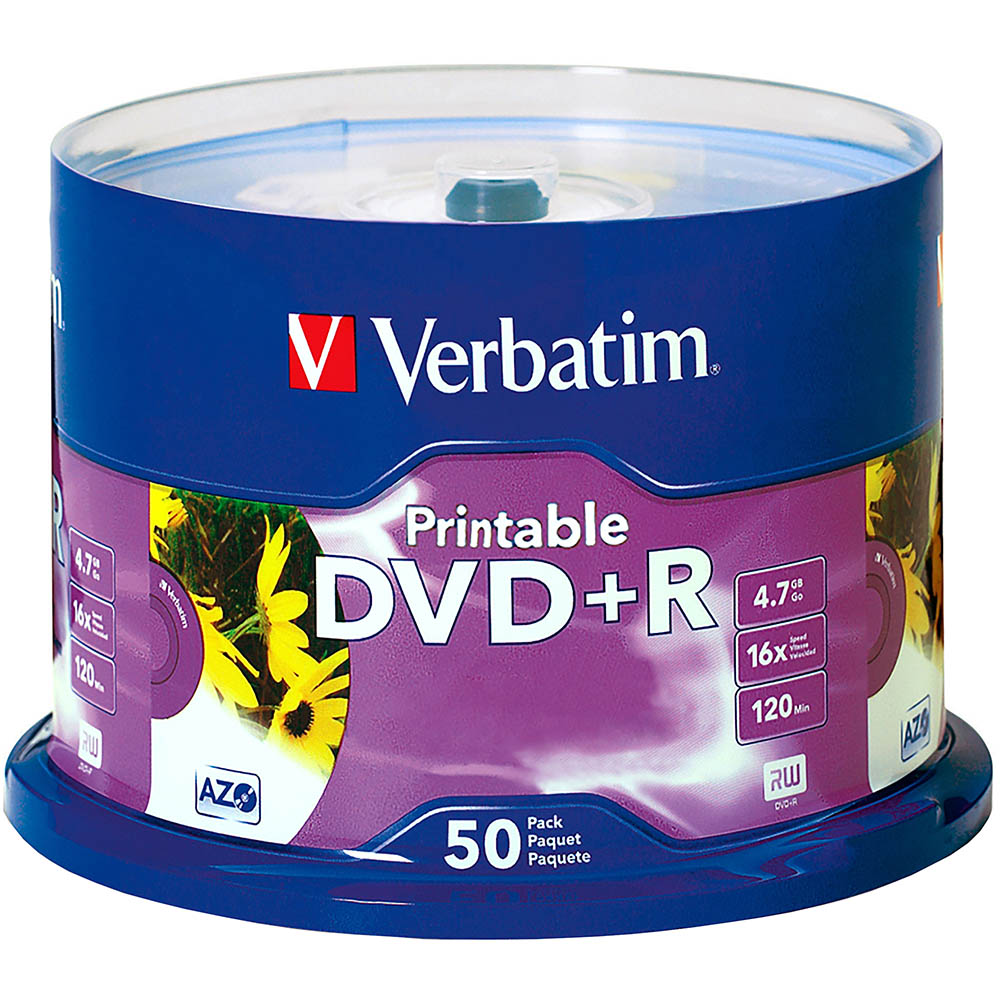 Image for VERBATIM DVD+R 4.7GB 16X PRINTABLE SPINDLE WHITE PACK 50 from Office Products Depot