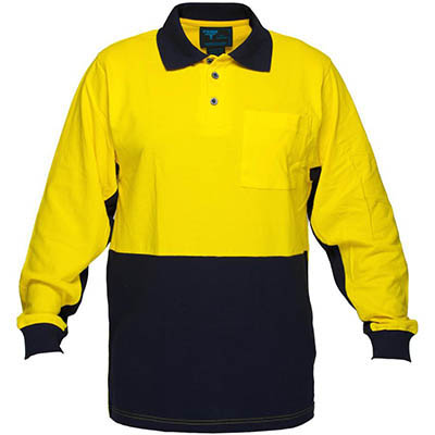 Image for PRIME MOVER MD619 HI VIS COTTON PIQUE POLO SHIRT LONG SLEEVE 2 TONE from Office Products Depot