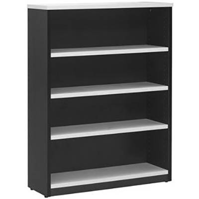 Image for OXLEY BOOKCASE 4 SHELF 900 X 315 X 1200MM WHITE/IRONSTONE from Office Products Depot