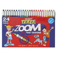TEXTA ZOOM TWIST CRAYONS WALLET NON TOXIC ASSORTED COLOURS PACK 24