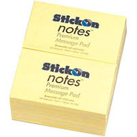 STICK ON NOTES 100 SHEETS 76 X 127MM YELLOW PACK 12