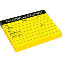 STICK ON TELEPHONE MESSAGE NOTE PAD 76 X 102MM NEON YELLOW PACK 4