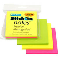 STICK ON NOTES 50 SHEETS 76 X 76MM NEON ASSORTED PACK 3