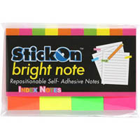 STICK ON NOTES 50 SHEETS 50 X 20MM ASSORTED NEONS PACK 4